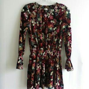 Ella Moss Velvet Burgundy Floral Dress